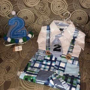 NWT Mud-pie kids little boys 2️⃣nd birthday outfit